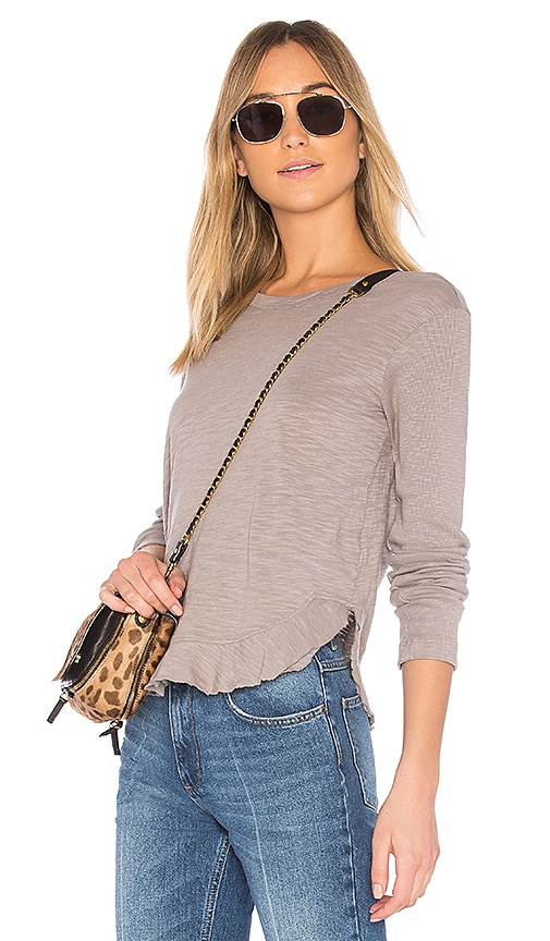 Wilt Slub Shrunken Shirttail Top in Gray