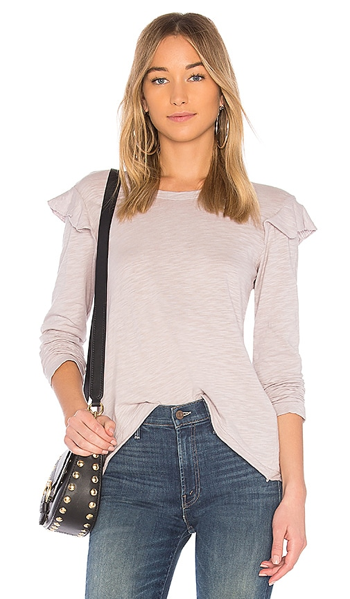 Wilt Slub Mock Sleeve Top in Gray