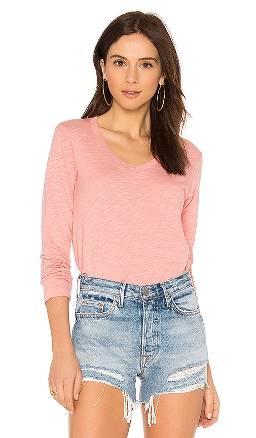 Wilt Long Sleeve Shirttail Foundation Tee in Coral