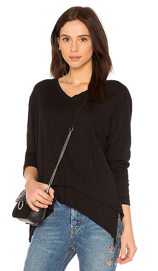 Wilt Mock Hem Long Sleeve Top in Black