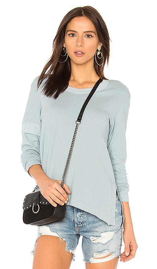 Wilt Slouchy Side Slit Tee in Blue