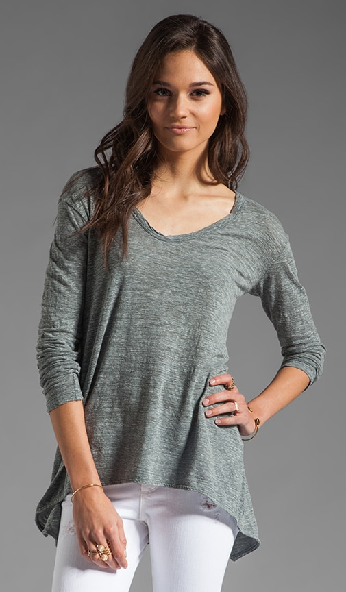 Heathered Slub Slouchy Boyfriend Long Sleeved Tee
