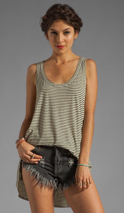 Stripe Jersey Slouchy Double Shirttail Tank