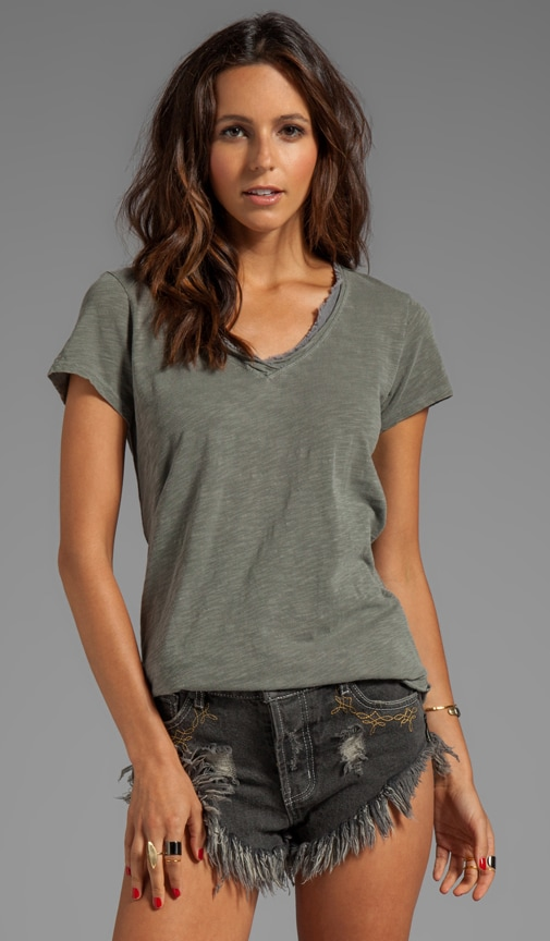 Slub Jersey Raw Mixed V-Neck Slouchy Tee