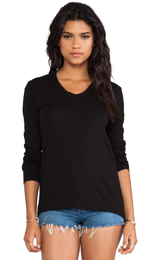 Slub Jersey Long Sleeve Drape Back Tee