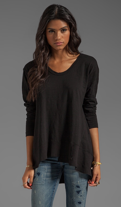 Slub Jersey Mixed Slouchy Long Sleeve