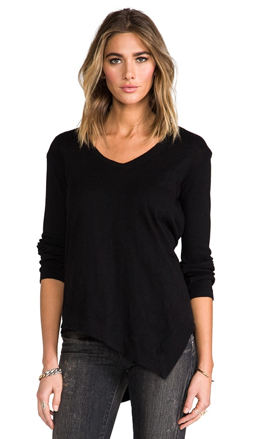 Long Sleeve Uneven V-Neck