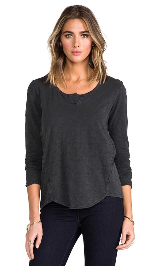 Long Sleeve Shrunken Henley Shirttail