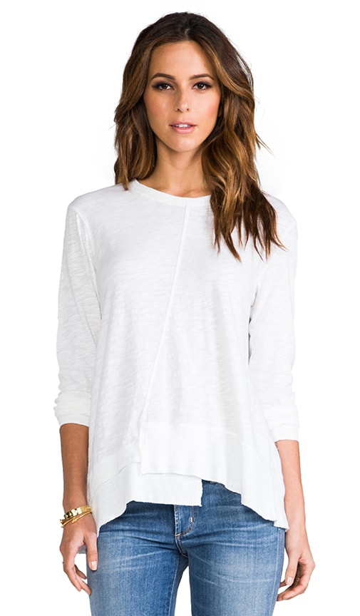 Long Sleeve Twisted Seam Rib Mix Tee