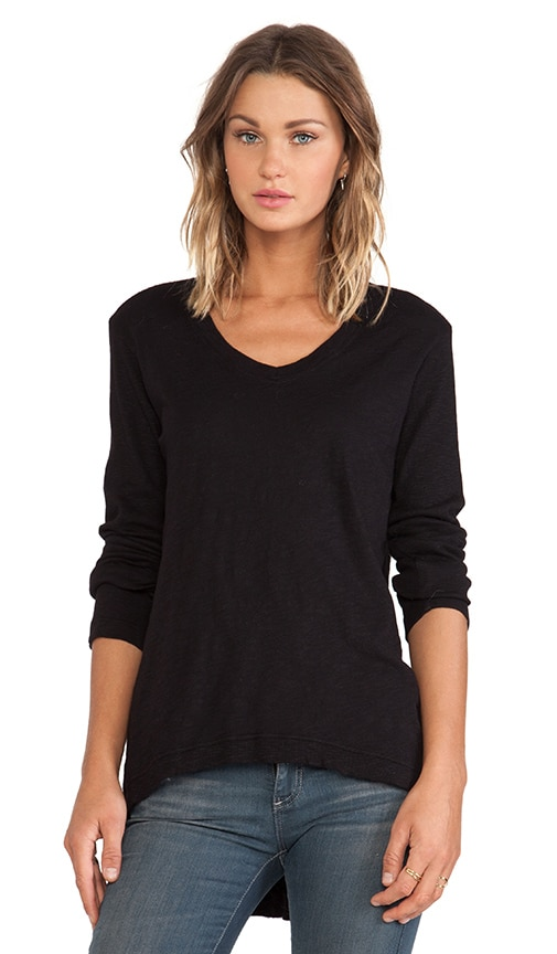 Slub Jersey Long Sleeve Rib Mix Hi-Lo Tunic