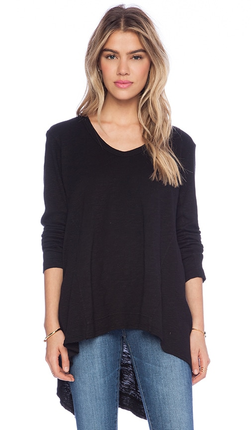 Slub Mixed Panel Tunic Long Sleeve Tee