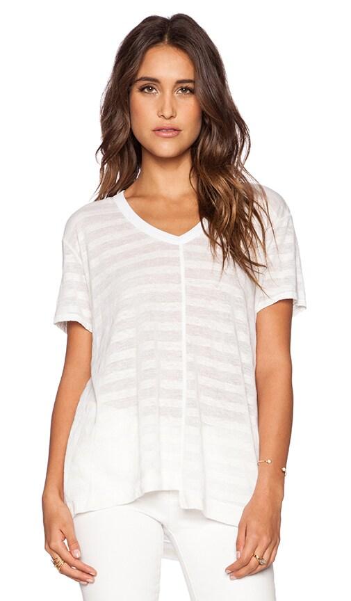 Wilt Shadow Stripe Linen Easy Shifted V Neck Tee in White