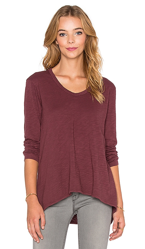 Wilt Long Sleeve Slouchy Boyfriend Tee in Rhubarb