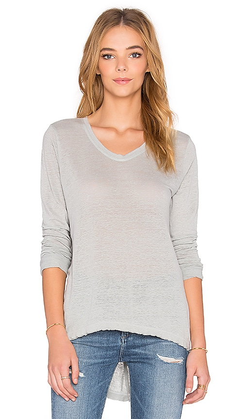 Wilt Lux Slub Long Sleeve Raw Easy Tee in Baby Sky