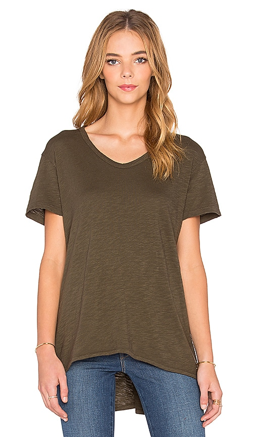 Wilt Slub Short Sleeve Slouchy Boyfriend Tee in Military