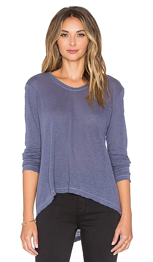 Wilt Lux Slub Long Sleeve Raw Hem Tee in Plum