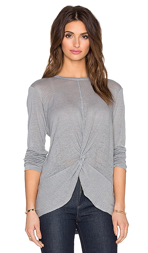Wilt Lux Slub Twist Front Tee Long Sleeve Tee in Gray