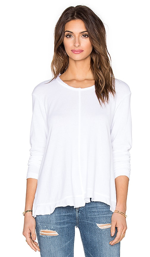 Wilt Lux Cotton Ruffle Long Sleeve Tee in White