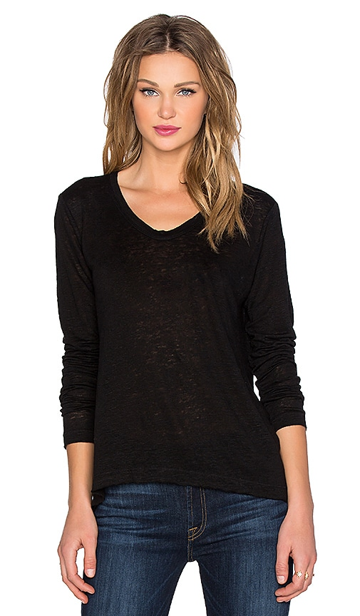 Wilt Lux Slub Long Sleeve Easy Tee in Black