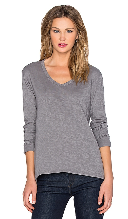 Wilt Slub Long Sleeve Slouchy Boyfriend Tee in Gray