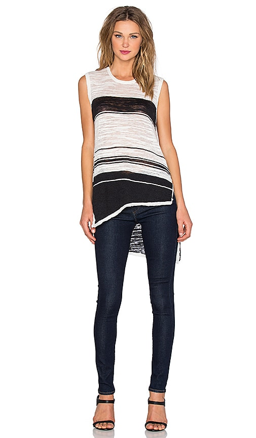 Wilt Slubby Linen Stripe Sleeveless Tunic Shell Tank in Black & White