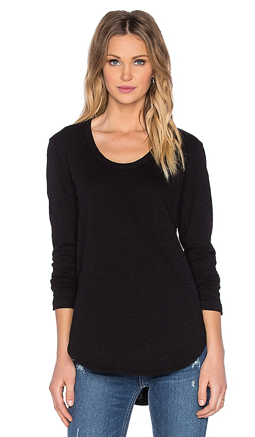 Wilt Slub Shirttail Long Sleeve Tee in Black