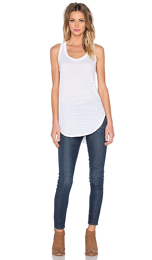 Wilt Shadow Stripe Slanted Tank in White & White