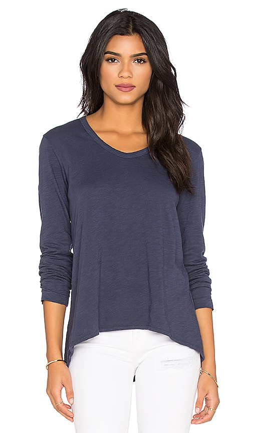 Wilt Slub Long Sleeve Shrunken Boyfriend Top in Blue