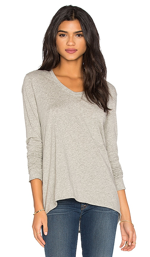 Wilt Pima Long Sleeve Vintage V Neck Top in Grey Heather