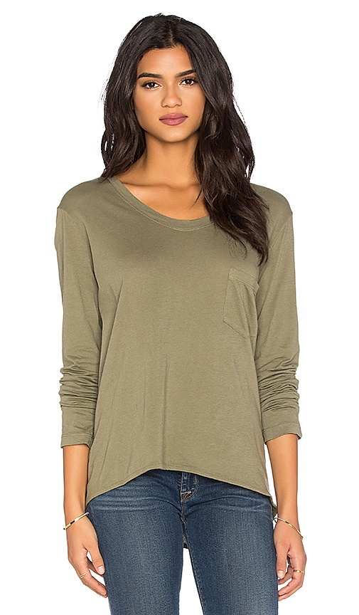 Wilt Pima Long Sleeve Vintage V Neck Top in Swampy