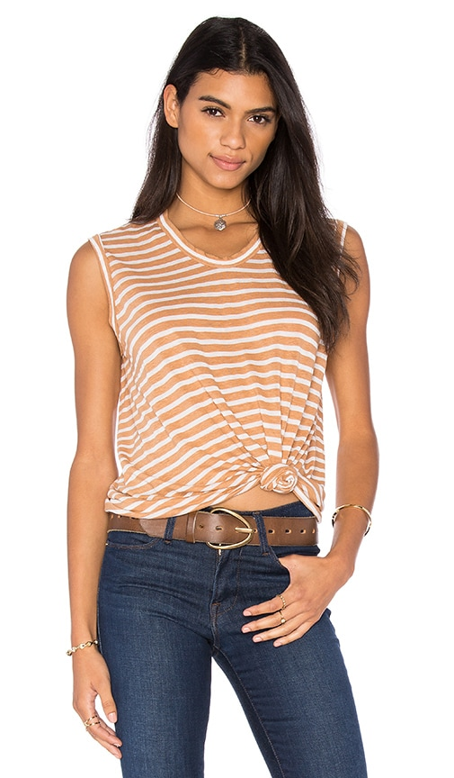 Wilt Shadow Stripe Muscle Tank in Tan