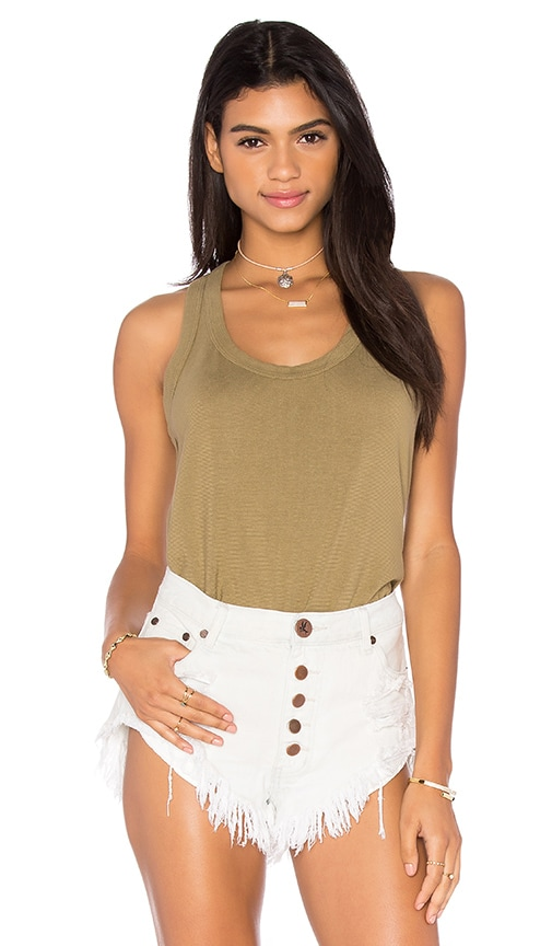 Wilt Lux Cotton Mock Layer Tank in Green