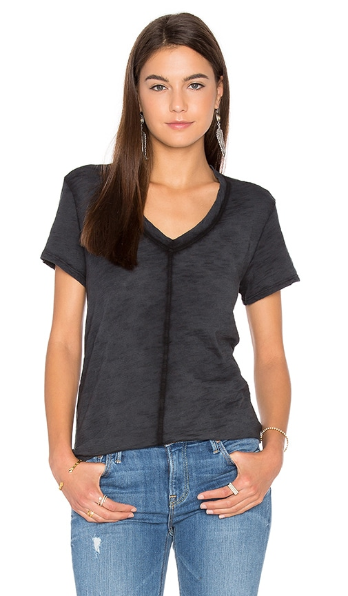 Wilt Slub V Neck Trapeze Tee in Charcoal