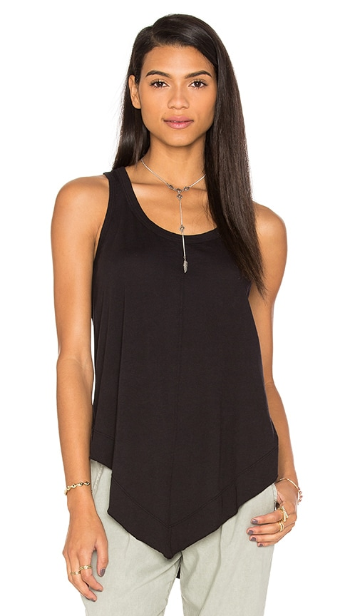 Wilt Pima Shrunken V Hem Tank in Black