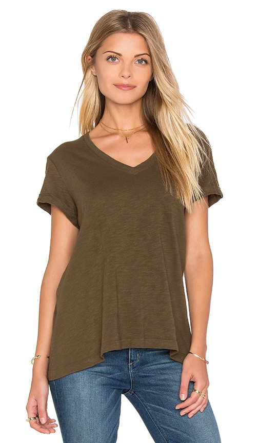 Wilt Slub Roll Sleeve Baby V Neck Tee in Army