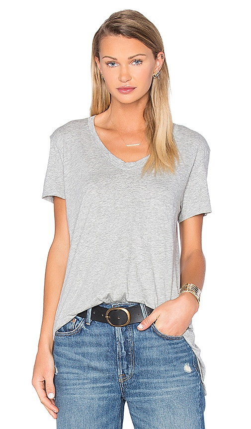 Wilt Pima Vintage Pocket V Neck Tee in Grey Heather