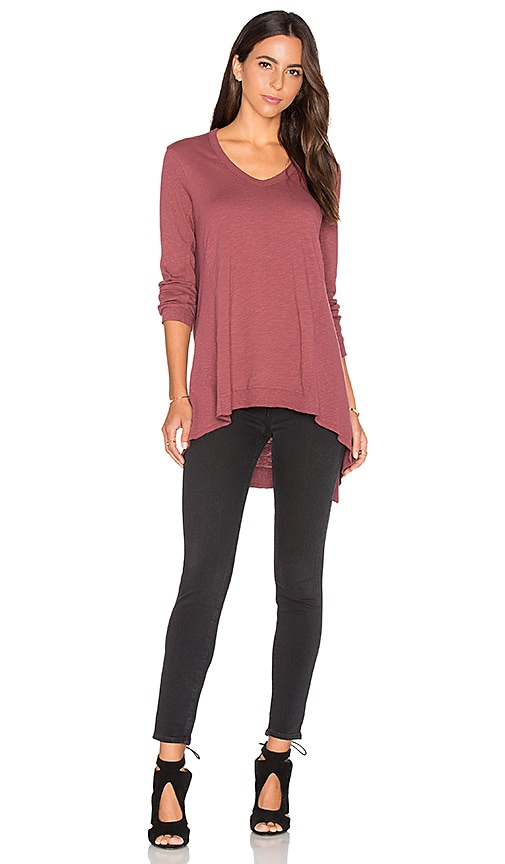 Wilt Mixed Panel Tunic Top in Burgundy