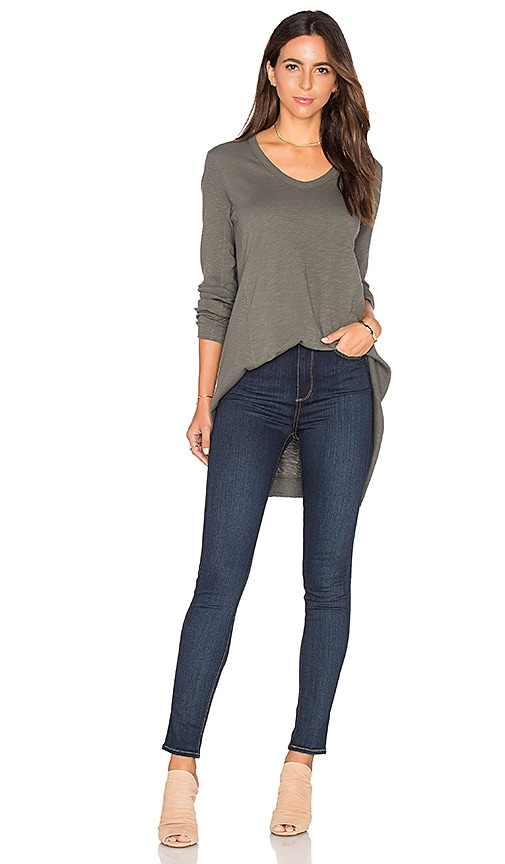 Wilt Mixed Panel Tunic Top in Gray