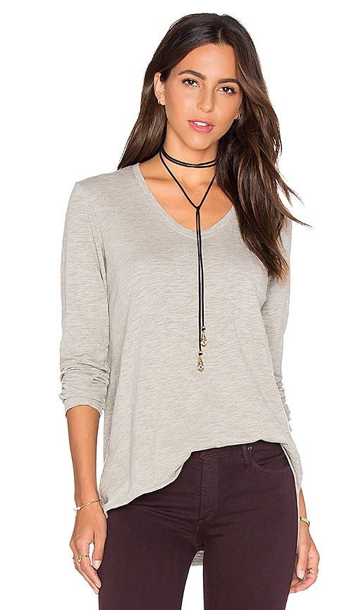 Wilt Vintage V Neck Long Sleeve Top in Gray