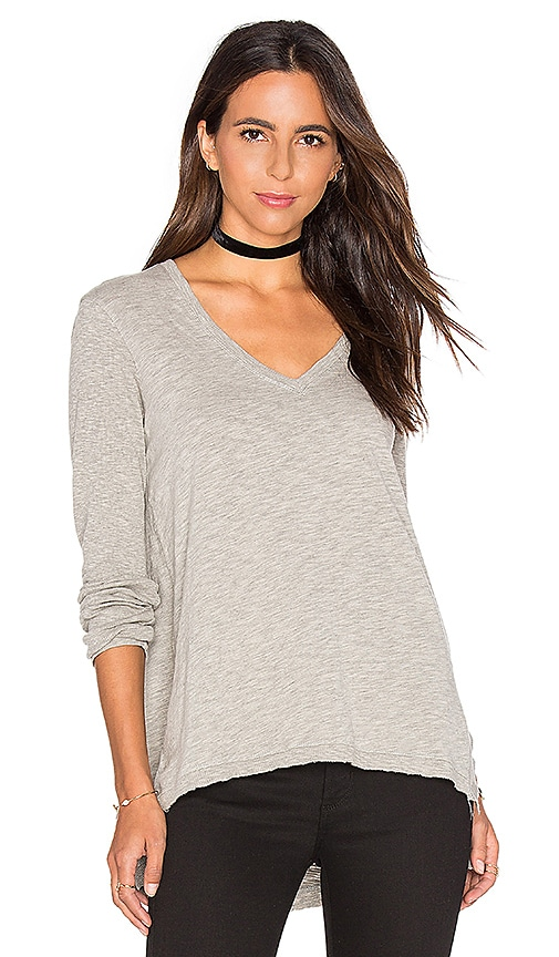 Wilt V Neck Side Slit Tunic Top in Gray