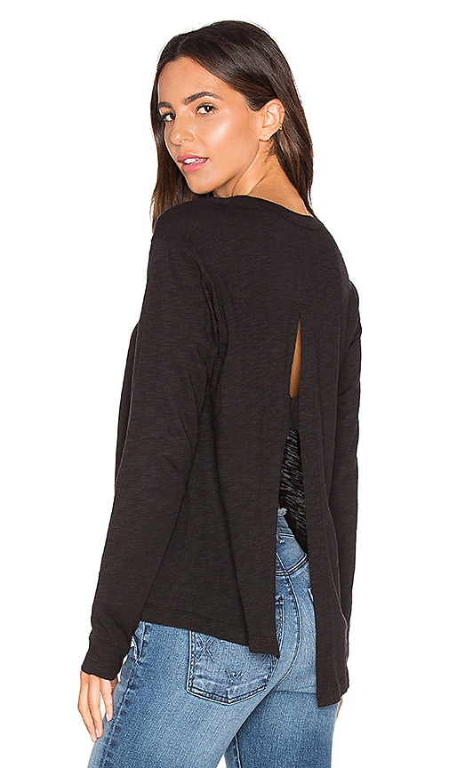 Wilt Long Sleeve Open Back Top in Black