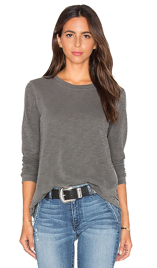 Wilt Slub Mock Neck Layered Long Sleeve Top in Gray