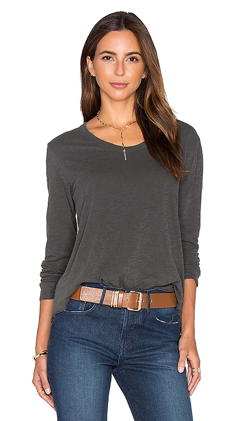 Wilt Long Sleeve Baby Unfinished Notch Hem Tee in Charcoal