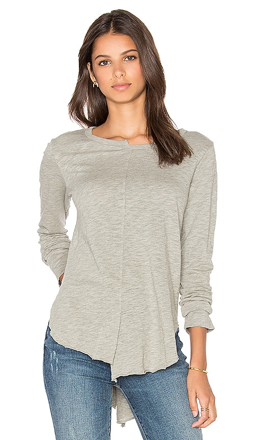 Wilt Shift Neck Shirttail Top in Gray