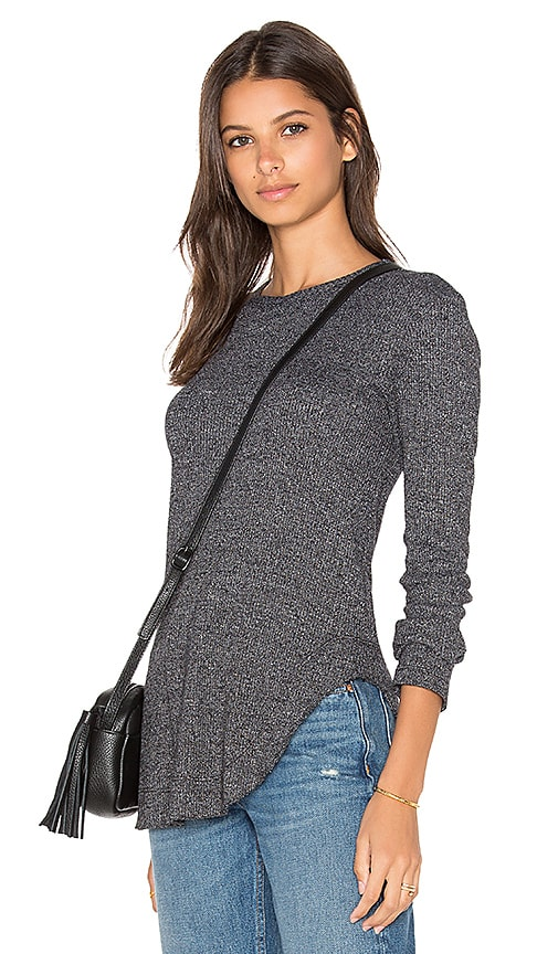 Wilt Twist Hem Crew Neck Long Sleeve Top in Black