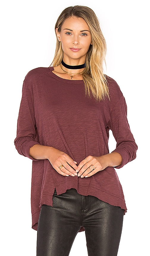 Wilt Slouchy Overlay Shift Long Sleeve Top in Burgundy