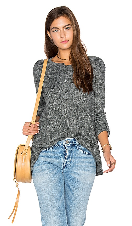 Wilt Shifted Crew Trapeze Long Sleeve Top in Dark Green