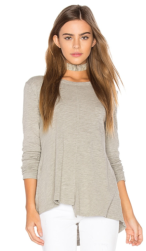 Wilt Slub Layered Open Back Tee in Gray