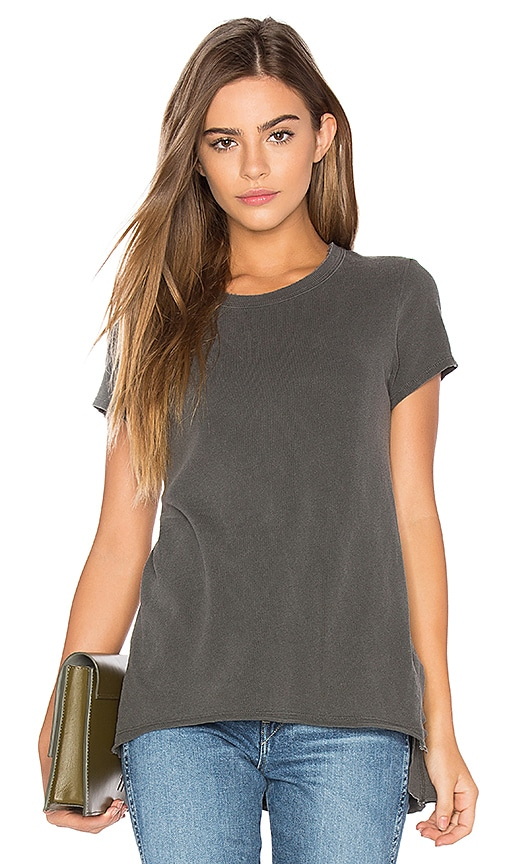 Wilt Shrunken Side Slit Tee in Charcoal