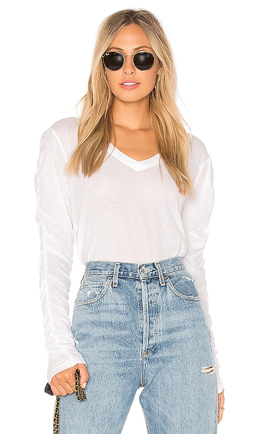 Wilt Shrunken Ruched Long Sleeve Top in Ivory
